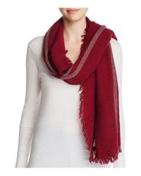 Eileen Fisher - Red Plaid Stripe Scarf - Lyst