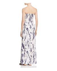 Aqua | Black Strapless Printed Maxi Dress | Lyst