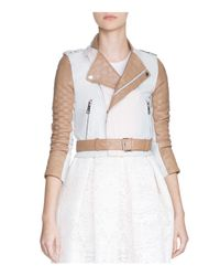 Maje - White Blood Tricolor Leather Moto Jacket - Lyst