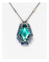 "Sorrelli - Blue Swarovski Crystal Pendant Necklace, 16"" - Lyst"