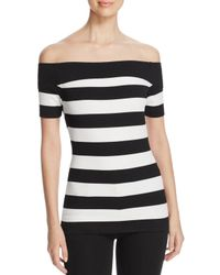 MICHAEL Michael Kors - Black Striped Off-the-shoulder Top - Lyst