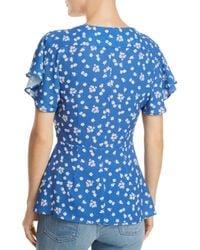 French Connection - Blue Frances Verona Floral-print Wrap Top - Lyst