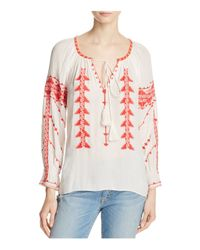 Parker | White Felicia Embroidered Peasant Top | Lyst