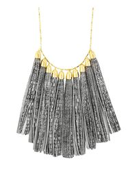 "BaubleBar - Black Leather Tassel Bib Necklace, 27"" - Lyst"