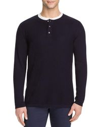 VINCE | Blue Cotton Cashmere Mix Stitch Henley Sweater for Men | Lyst