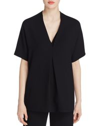 Vince - Black Double V Crepe Top - Lyst