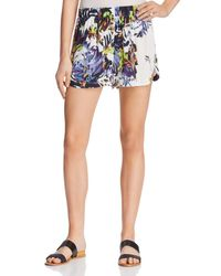 French Connection - Blue Kiki Palm Printed Shorts - Lyst