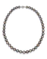 "Tara Pearls | Black Natural Color Tahitian Cultured Pearl Strand Necklace, 17"" | Lyst"