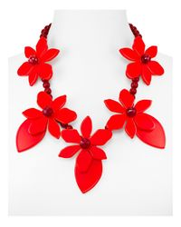 """kate spade new york - Red Lovely Lillies Statement Necklace, 22"""" - Lyst"""
