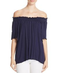Nation Ltd - Blue Lu Smocked Off-the-shoulder Top - Lyst