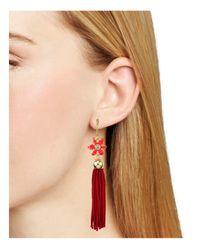 kate spade new york - Red Lovely Lillies Tassel Earrings - Lyst
