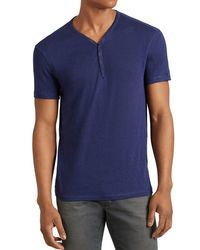 John Varvatos - Blue Snap Placket Henley Tee for Men - Lyst