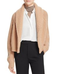 Vince - Natural Ribbed Crop Cardigan - Lyst