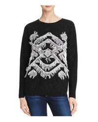 Aqua | Black Cashmere Geo Fringe Cashmere Sweater | Lyst