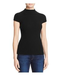 Aqua | Black Cashmere Ribbed Mock Neck Cashmere Sweater - 100% Exclusive | Lyst