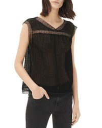 Sandro - Black Emane Semi-sheer Top - Lyst
