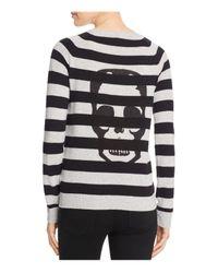 Aqua   Gray Cashmere Skull Stripe Cashmere Sweater - 100% Exclusive   Lyst