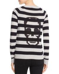 Aqua | Gray Cashmere Skull Stripe Cashmere Sweater - 100% Exclusive | Lyst