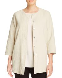 Eileen Fisher | Natural Textured Round Neck Jacket | Lyst