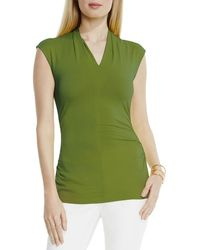 Vince Camuto - Green Ruched V-neck Top - Lyst