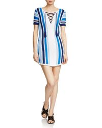 Maje - Blue Reedlay Crochet Stripe Dress - Lyst