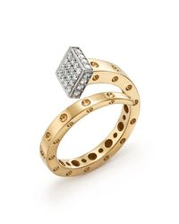 Roberto Coin | Metallic 18k Yellow And White Gold Pois Moi Chiodo Ring With Diamonds - 100% Exclusive | Lyst