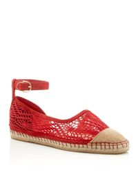 Cole Haan   Red Noomi Lace Ankle Buckle Espadrille Flats   Lyst