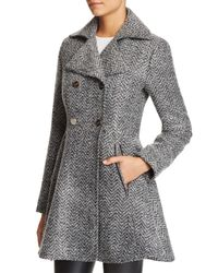 Laundry by Shelli Segal   Gray Fit And Flare Double-breasted Coat   Lyst
