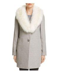 T Tahari   Gray Olivia Faux Fur-trim Coat   Lyst