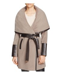 Via Spiga | Multicolor Belted Faux Leather Trim Coat | Lyst
