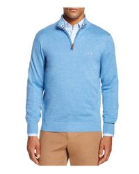 Vineyard Vines | Blue Pima Cotton Quarter Zip Sweater for Men | Lyst