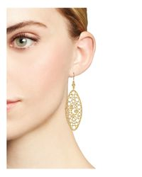 Roberto Coin | Metallic 18k Yellow Gold Bollicine Diamond Oval Earrings | Lyst