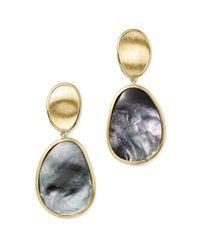 Marco Bicego | Metallic 18k Yellow Gold Lunaria Black Mother-of-pearl Double Drop Earrings - 100% Exclusive | Lyst