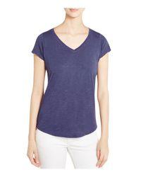Eileen Fisher - Purple V-neck Cotton Tee - Lyst