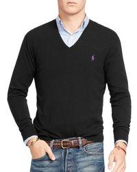 Polo Ralph Lauren | Black Stretch Merino Slim Fit V-neck Sweater for Men | Lyst