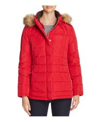 Calvin Klein | Red Faux Fur-trim Hooded Puffer Coat | Lyst