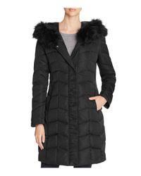 T Tahari   Black Addison Faux Fur-trim Puffer Coat   Lyst