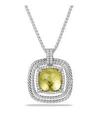 David Yurman | Metallic Châtelaine Pave Bezel Pendant Necklace With Lemon Citrine And Diamonds, 9mm | Lyst