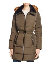 Calvin Klein | Green Belted Faux Fur Trim Down Coat | Lyst