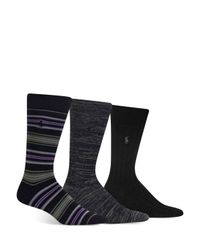 Polo Ralph Lauren - Black Super Soft Striped, Marled & Solid Socks, Pack Of 3 for Men - Lyst