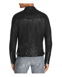 DIESEL - Black Moto Scaled Lambskin Leather Jacket for Men - Lyst