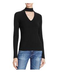 Aqua | Black Long Sleeve Rib Peek V-neck Top | Lyst