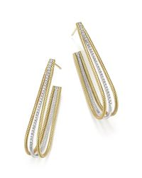 Meira T   Metallic 14k Yellow And White Gold Elongated Open Hoop Earrings With Diamonds   Lyst