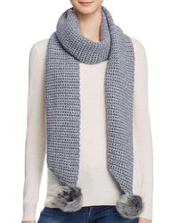 UGG | Gray Scarf With Pom-poms - 100% Exclusive | Lyst