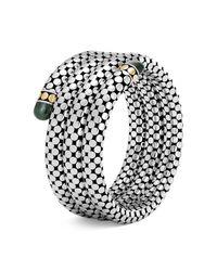 John Hardy - Metallic 18k Yellow Gold And Sterling Silver Dot Triple Coil Bracelet With Malachite - Lyst