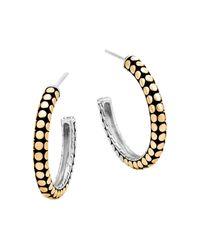 John Hardy | Metallic 18k Yellow Gold And Sterling Silver Dot Small Hoop Earrings | Lyst