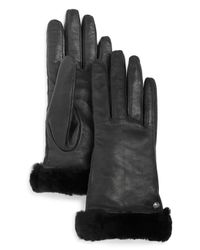 Ugg | Black Classic Leather Tech Gloves | Lyst
