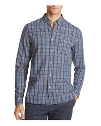 Lacoste | Blue Check Print Regular Fit Button-down Shirt for Men | Lyst