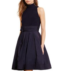 Pink Pony | Blue Lauren Mixed Media Mock Neck Dress | Lyst