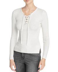 Aqua - White Rib Knit Lace Up Sweater - Lyst